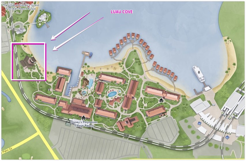 Luau Cove on the map at Disney Polynesian Village Resort