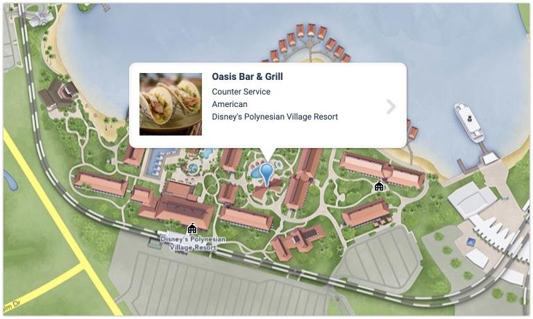 Map of Oasis Bar and Grill at Polynesian Village Resort at Walt Disney World