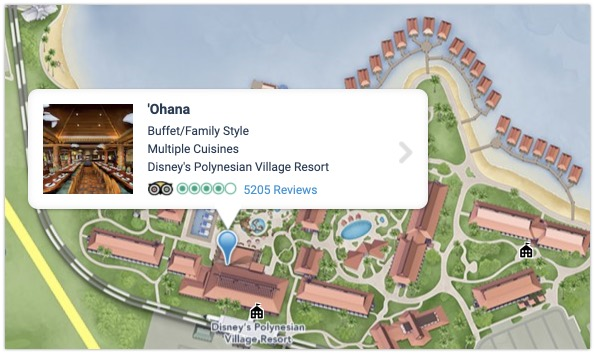 Ohana map and location at Polynesian Village Resort