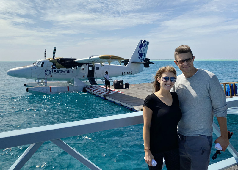 Seaplane arrival at Maldives Conrad resort