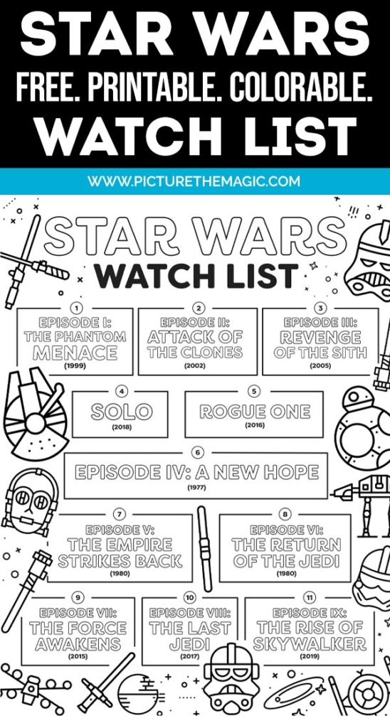 Free Star Wars Movie Watch List. You can download it to your computer and print it. Color in each movie as you watch it.