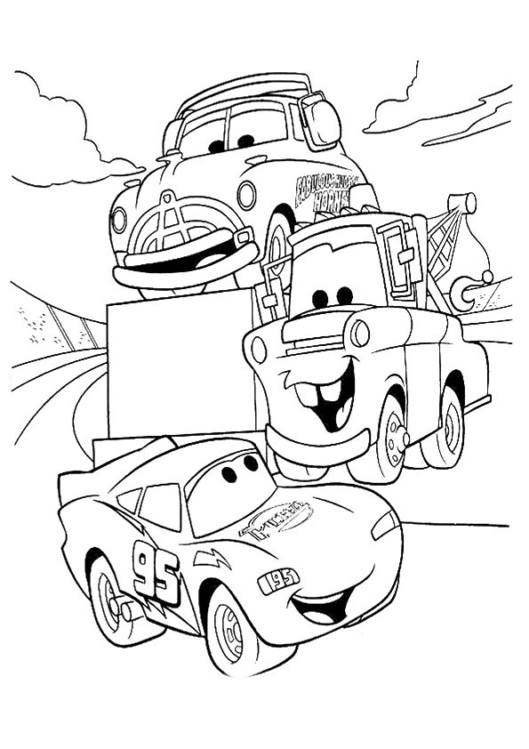 lightning, mater, and doc