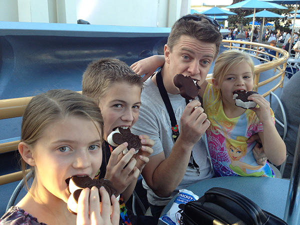 family eating mickey ice cream
