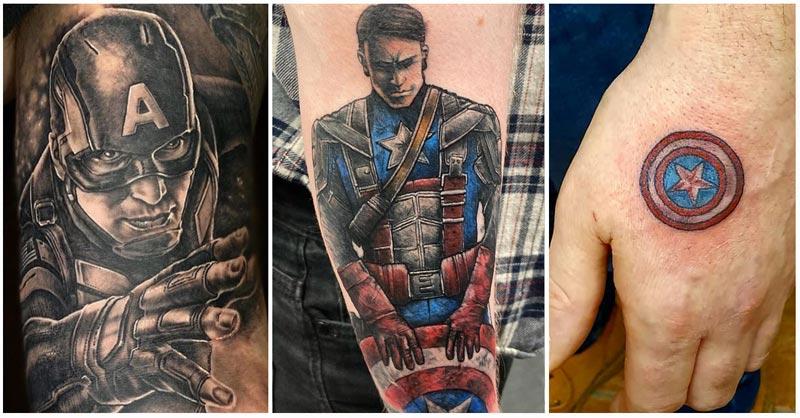 3 Captain America Tattoos Collage