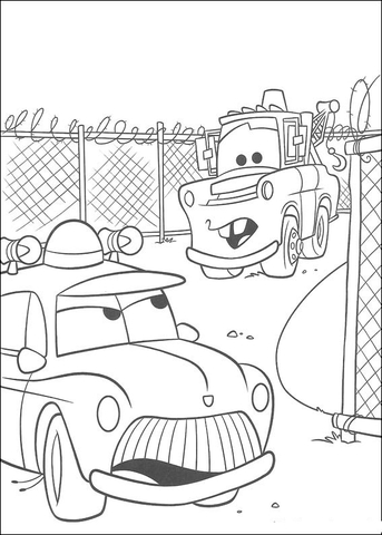 sheriff talks to mater at the junk yard