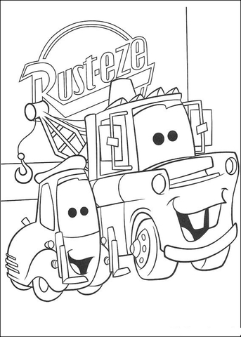 mater in front of rusteze sign