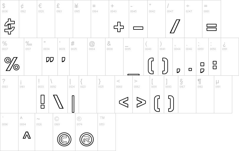 tron symbols font