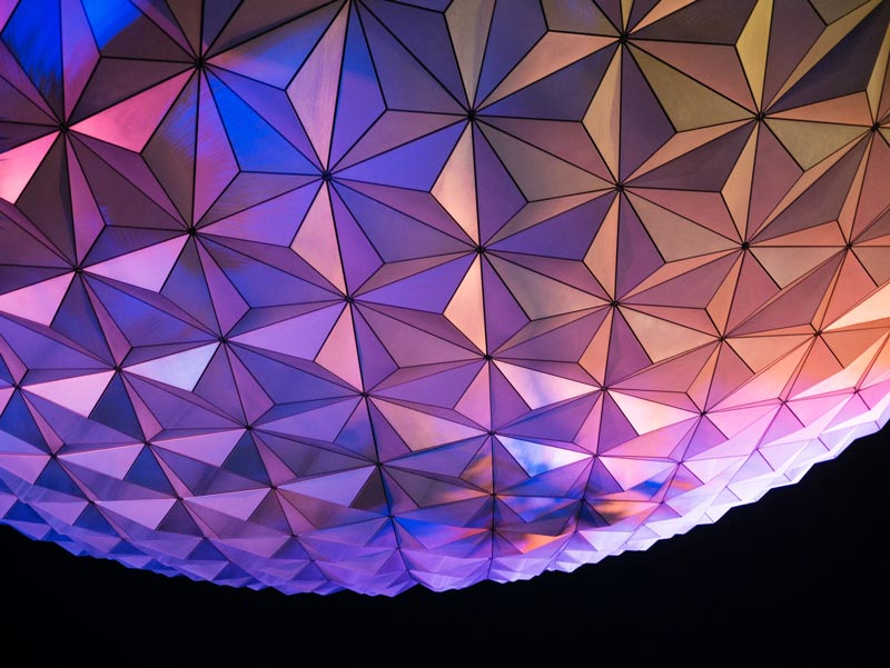 Nighttime image of Epcot Center ball