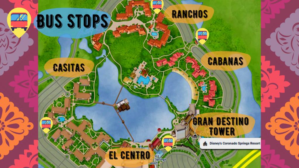 Map of bus stops at Coronado Springs resort