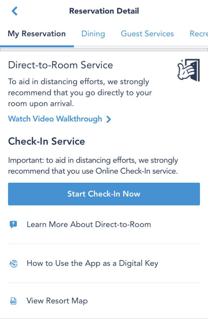 Online checkin service screenshot of Disney app
