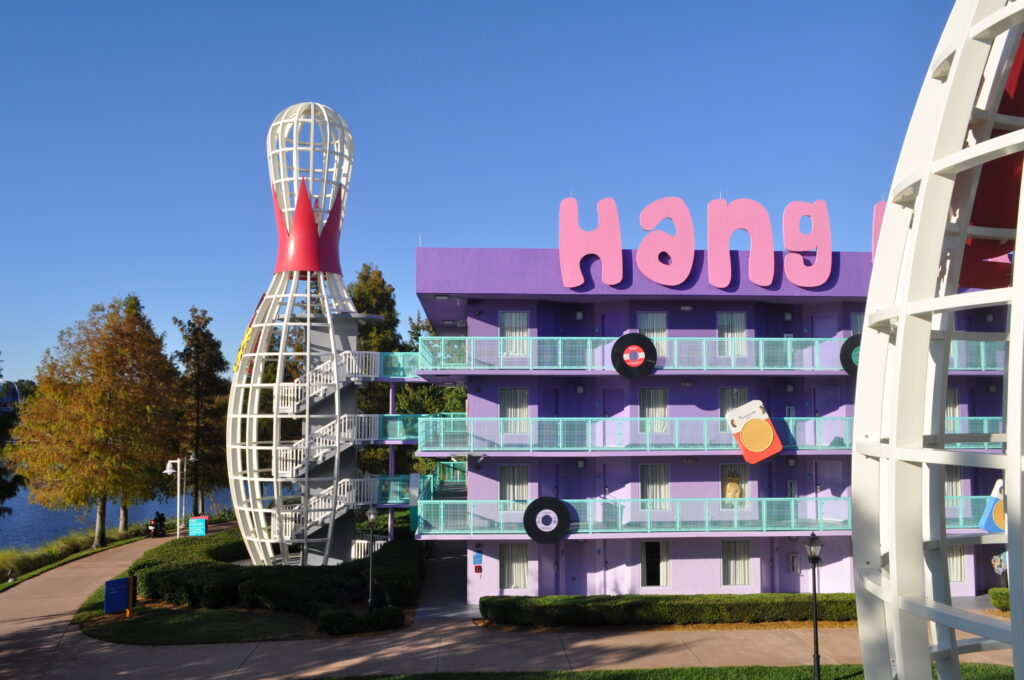 Bowling pin building at Pop Century resort at Walt Disney World