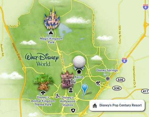 Map of Pop Century Resort on Walt Disney World property