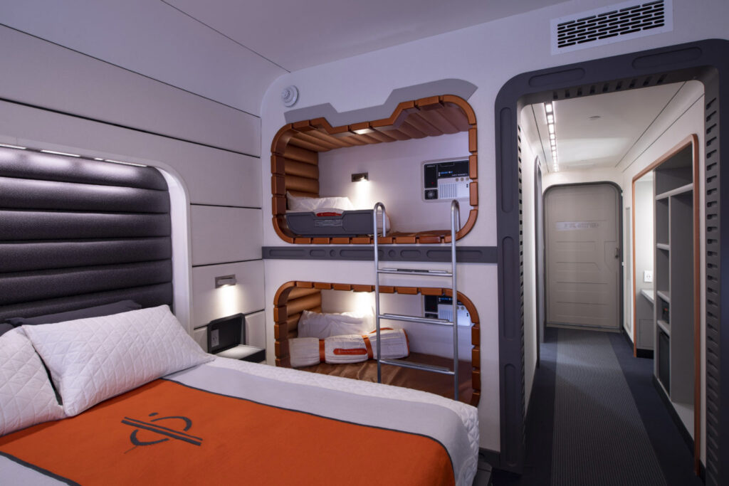 This mock-up of a starship cabin shows the well-appointed accommodations guests will experience during their stay.