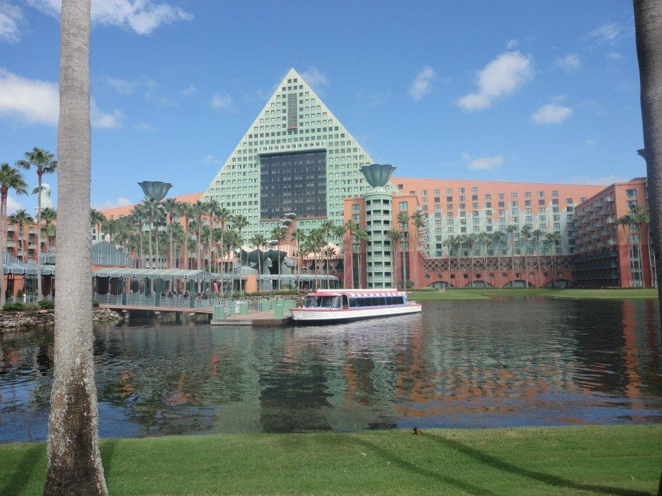 Outside of Dolphin hotel from across the lagoon