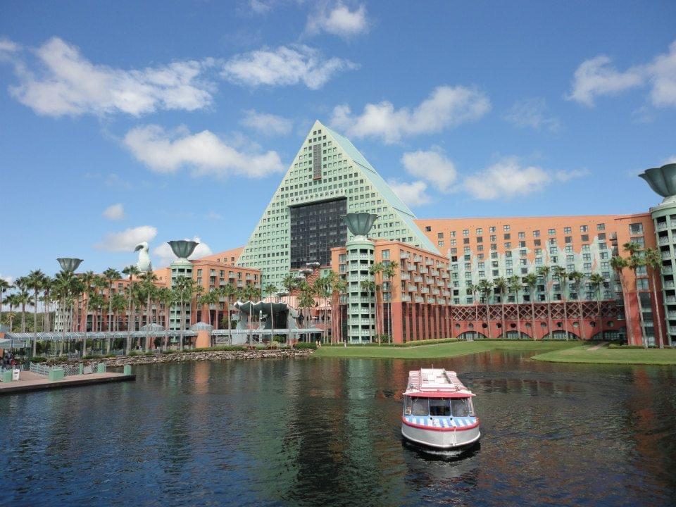 Boat transport to Marriott Dolphin hotel at Disney World