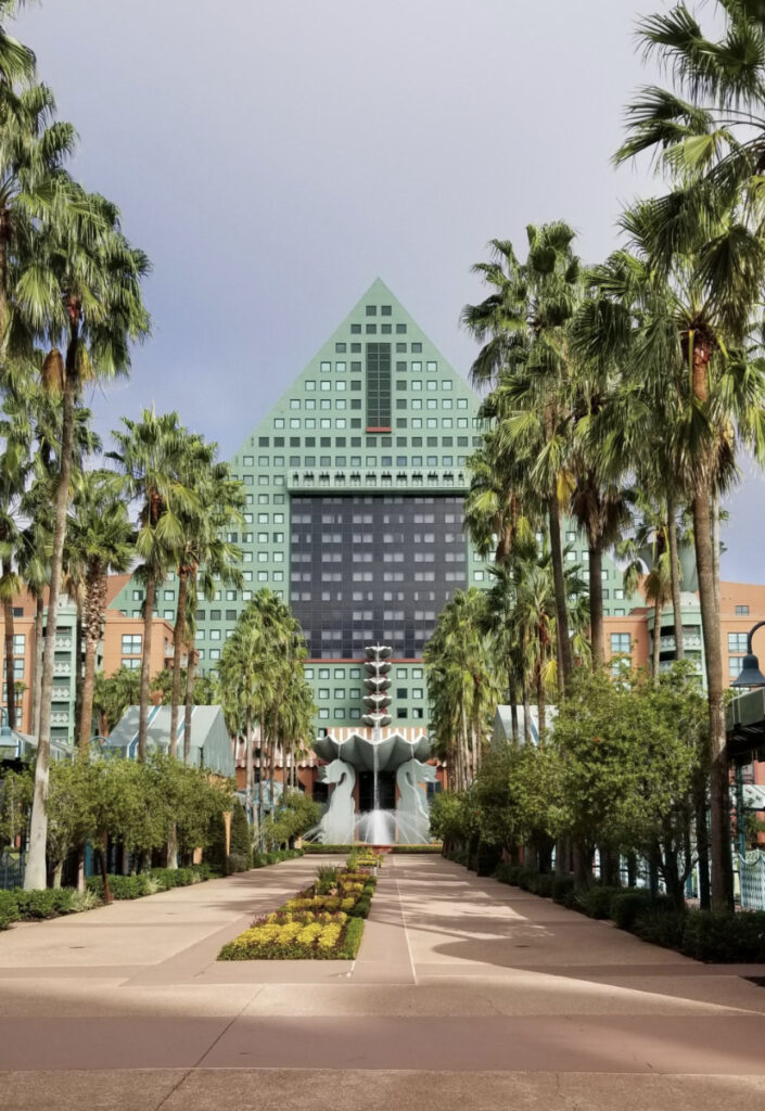 Walk up to the Disney Dolphin hotel exterior