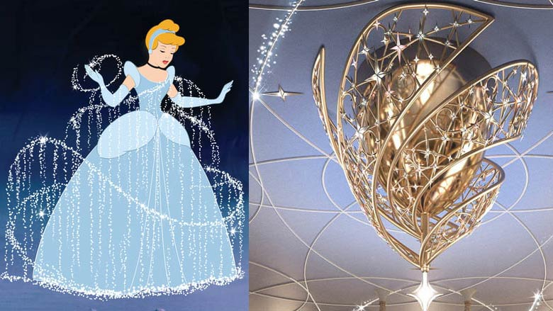 Disney Wish chandelier is built to look like Cinderella gown transformation from the Disney movie Cinderella.
