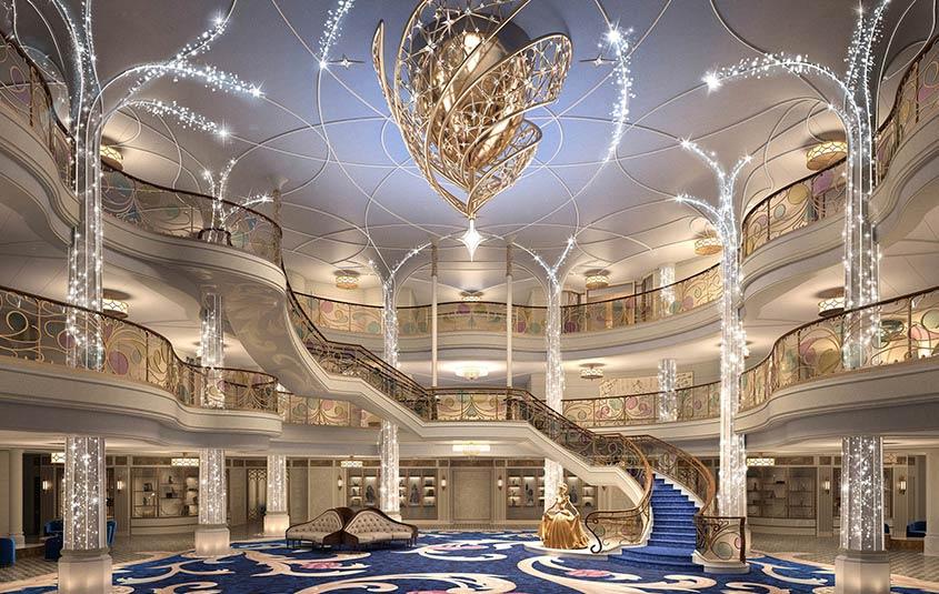 Grand Hall in Disney Wish, artist rendering