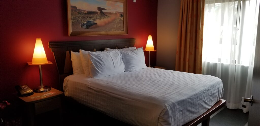 Bed at Cars suite at Art of Animation resort