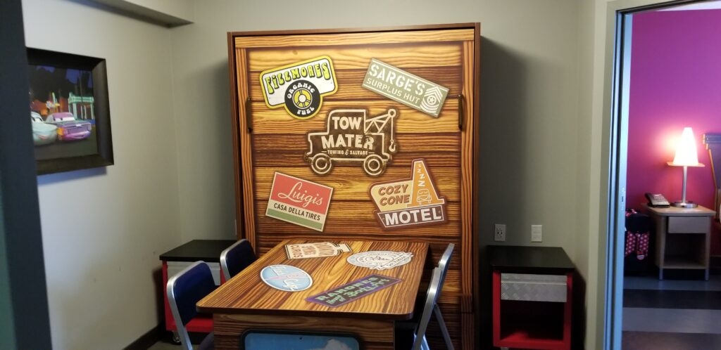 Dining area in Art of Animation resort room