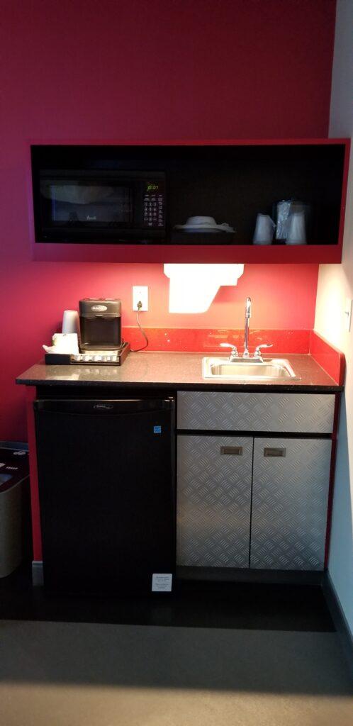 Kitchen area in Art of Animation resort room