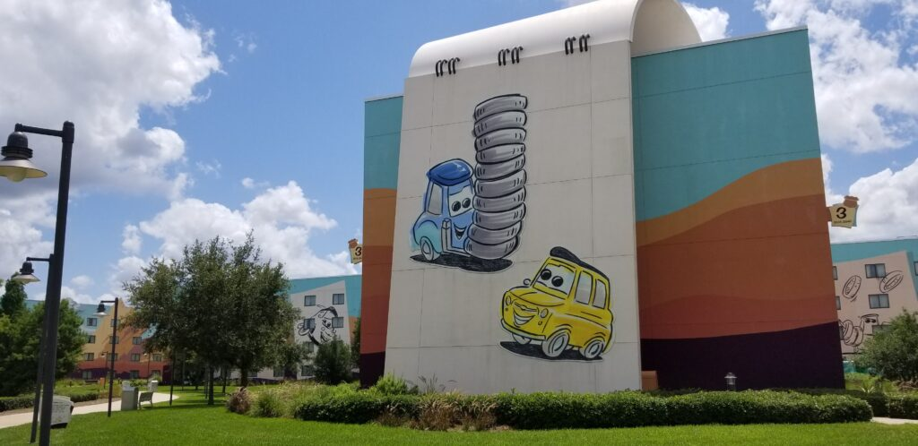 Outdoor wall of Art of Animation resort featuring Cars theming