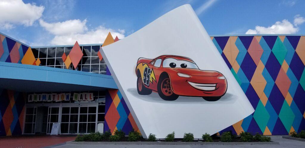 Lightning McQueen mural at Art of Animation resort