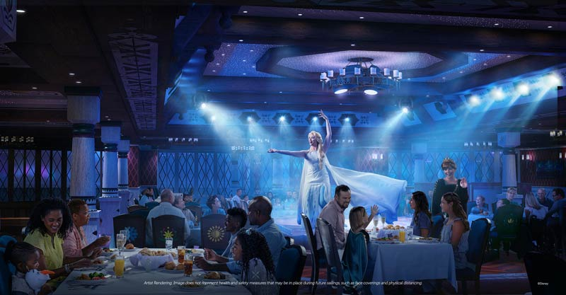 At the new Frozen restaurant, Arendelle, on the Disney Wish, You can expect a number of musical numbers from Elsa, Anna, Kristoff and Olaf, as well as hearty Norwegian-inspired cuisine. Made by Oaken himself!