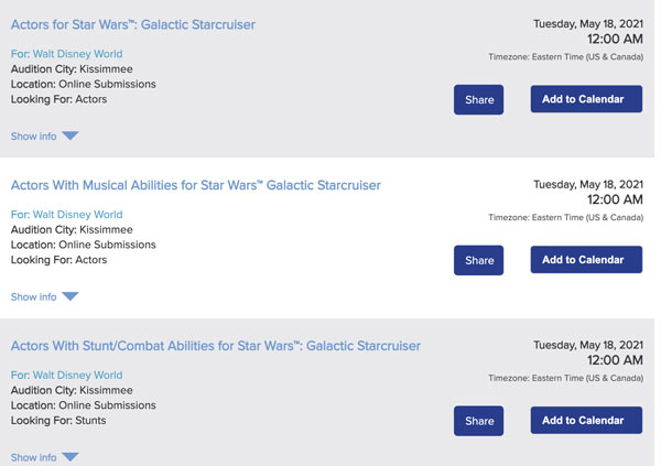 Auditions open for actors for Star Wars Galactic Starcruiser