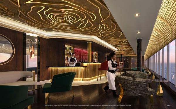 The Rose lounge on Disney Cruise Line's Disney Wish ship