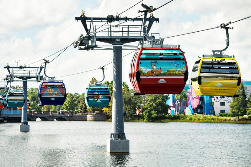 Disney Skyliner carrying guests high above Walt Disney World Resort in Lake Buena Vista, Fla. The state-of-the-art transportation system will feature custom cabins that glide through the air, conveniently transporting guests between Disney's Hollywood Studios and Epcot to four resort hotels – Disney's Art of Animation Resort, Disney's Caribbean Beach Resort, Disney's Pop Century Resort and the new Disney's Riviera Resort.