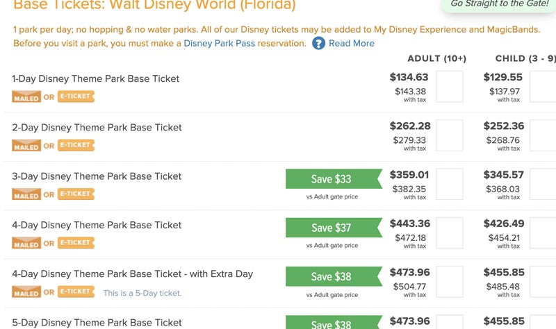 Undercover tourist screen shot of buying Disney world tickets