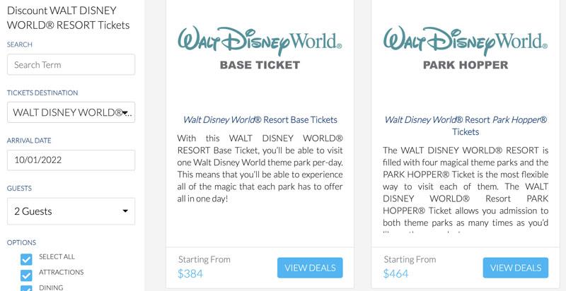 Get Away Today offers discount Walt Disney World tickets.