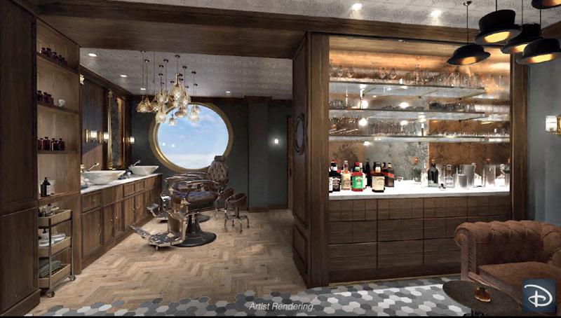 Hook's Barbery is a men's salon on the Disney Wish.