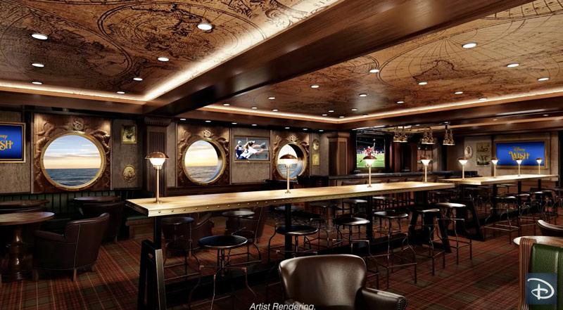 Keg & Compass pub on the Disney Wish cruise ship