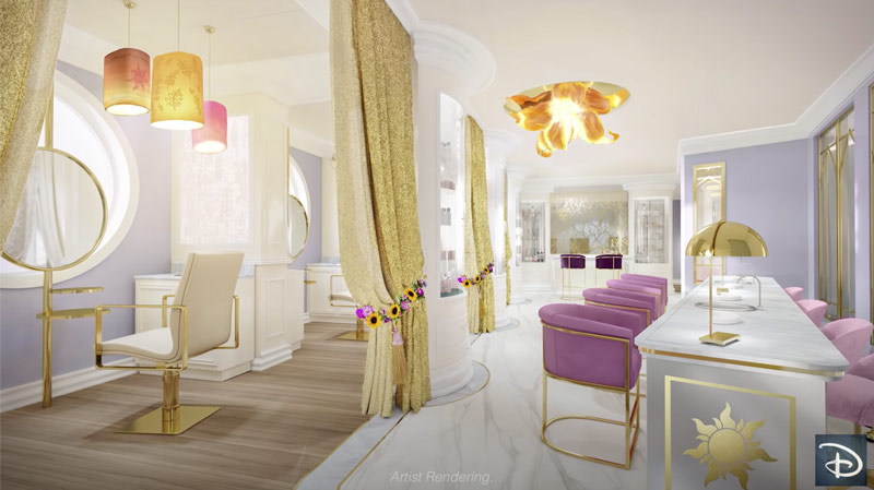 """Disney Wish hair salon called """"Untangled"""" is themed with Rapunzel theme in mind."""