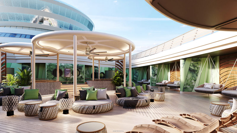 Rainbow Room at Senses Spa on Disney Wish will feature an open-air relaxation area.