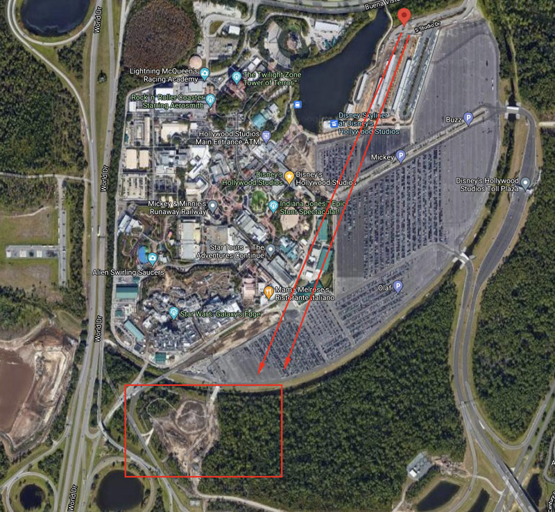 Aerial Map of Star Wars Hotel location